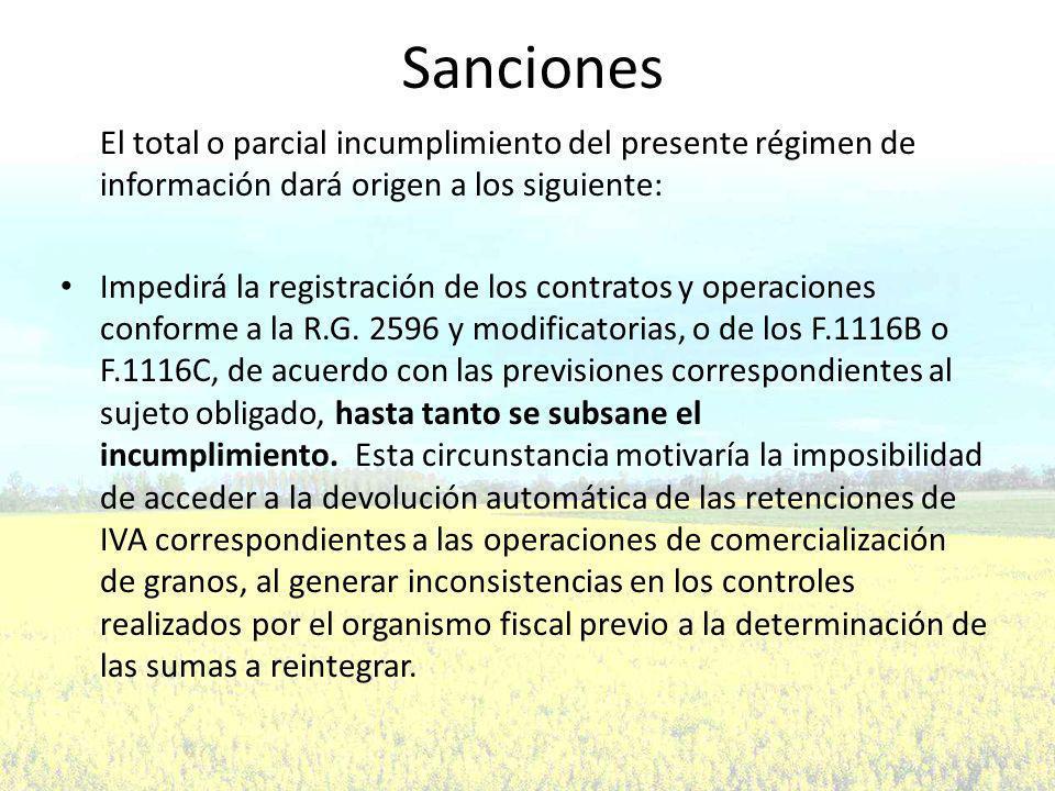 Sanciones El total o parcial incumplimiento del presente régimen de información dará origen a los siguiente: Impedirá la registración de los contratos y operaciones conforme a la R.G.