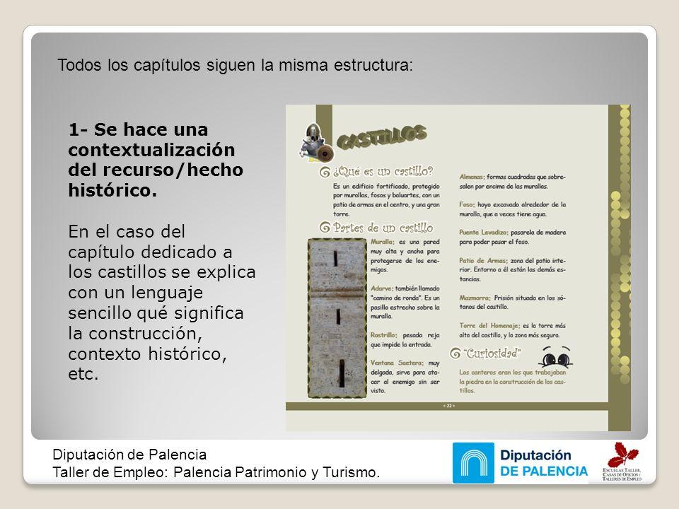 Todos los capítulos siguen la misma estructura: Diputación de Palencia Taller de Empleo: Palencia Patrimonio y Turismo. 1- Se hace una contextualizaci