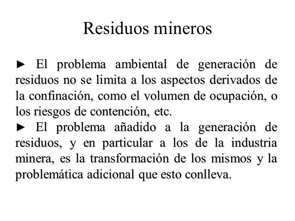Residuos mineros El problema ambiental de generación de residuos no se limita a los aspectos derivados de la confinación, como el volumen de ocupación