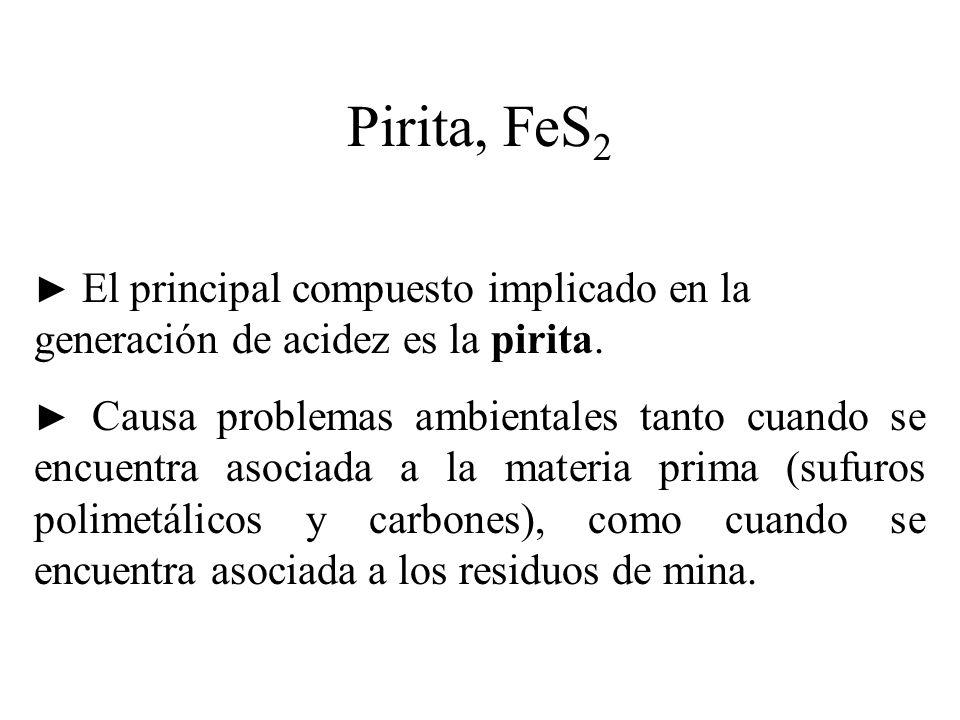 Pirita, FeS 2 El principal compuesto implicado en la generación de acidez es la pirita. Causa problemas ambientales tanto cuando se encuentra asociada