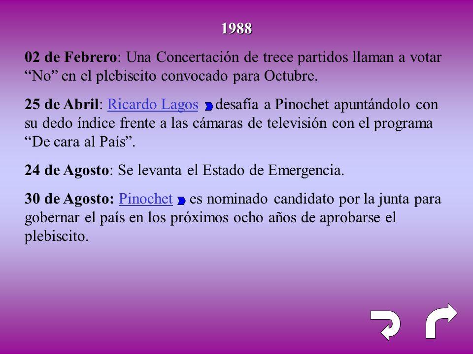 1988 02 de Febrero: Una Concertación de trece partidos llaman a votar No en el plebiscito convocado para Octubre. 25 de Abril: Ricardo Lagos desafía a