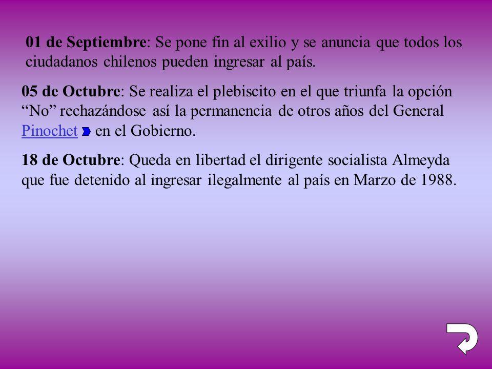 05 de Octubre: Se realiza el plebiscito en el que triunfa la opción No rechazándose así la permanencia de otros años del General Pinochet en el Gobier
