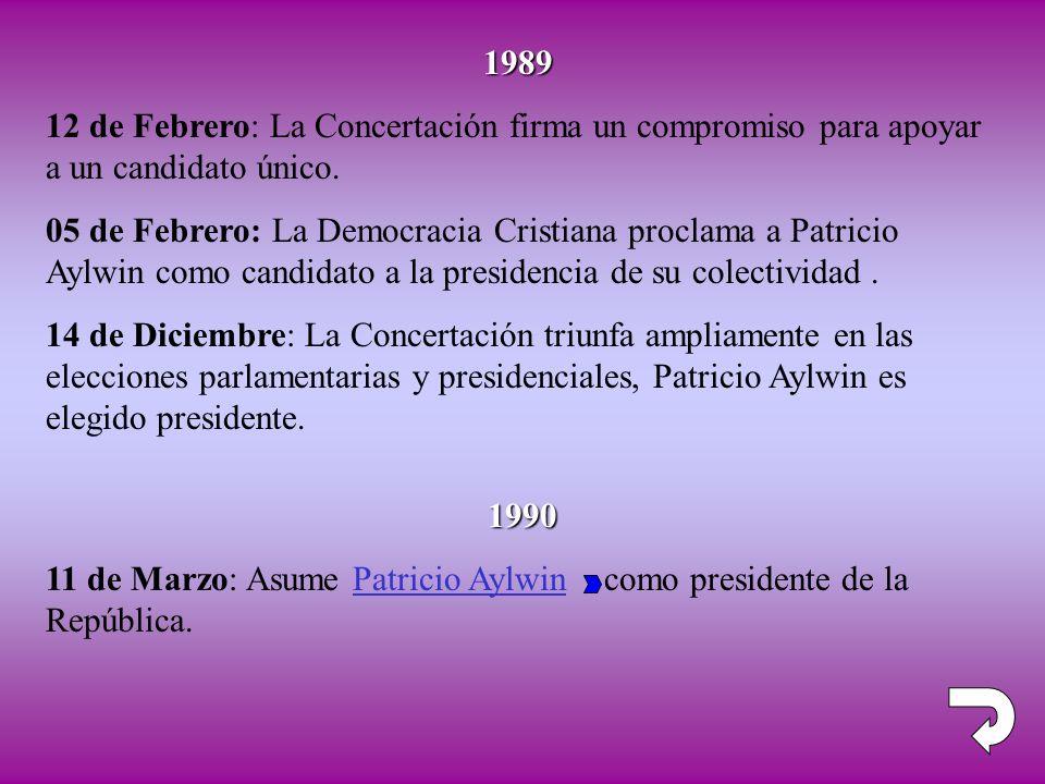 1990 11 de Marzo: Asume Patricio Aylwin como presidente de la República. 1989 12 de Febrero: La Concertación firma un compromiso para apoyar a un cand