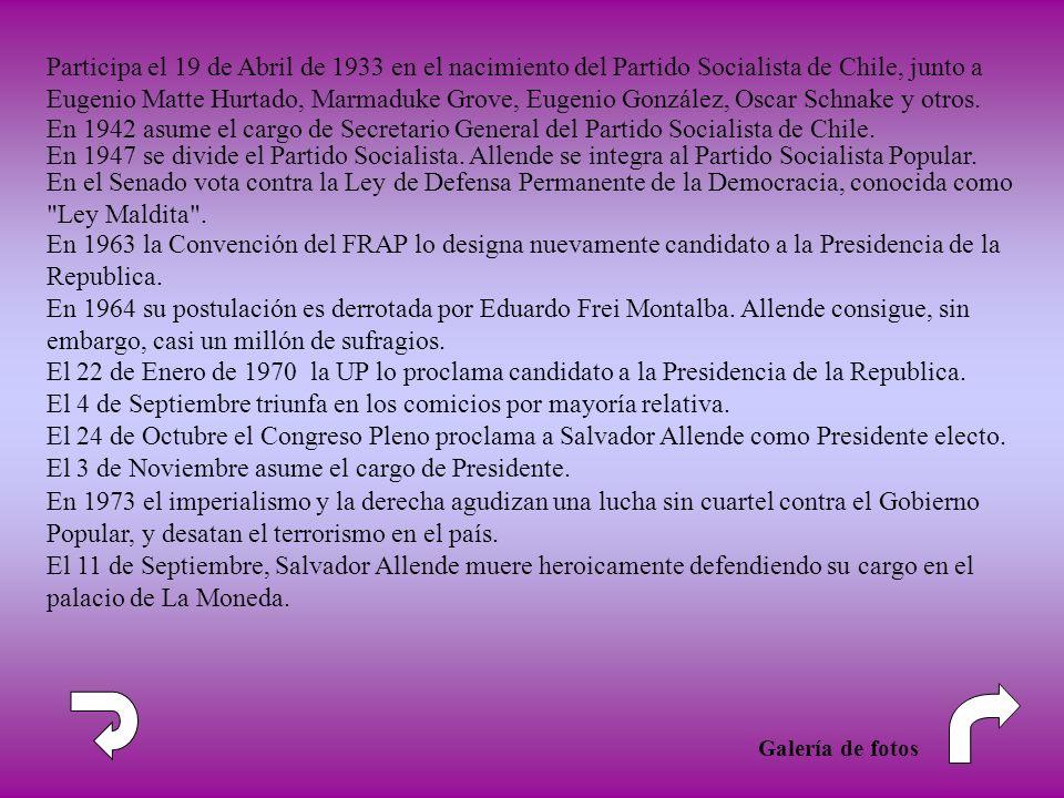 En 1942 asume el cargo de Secretario General del Partido Socialista de Chile. En el Senado vota contra la Ley de Defensa Permanente de la Democracia,