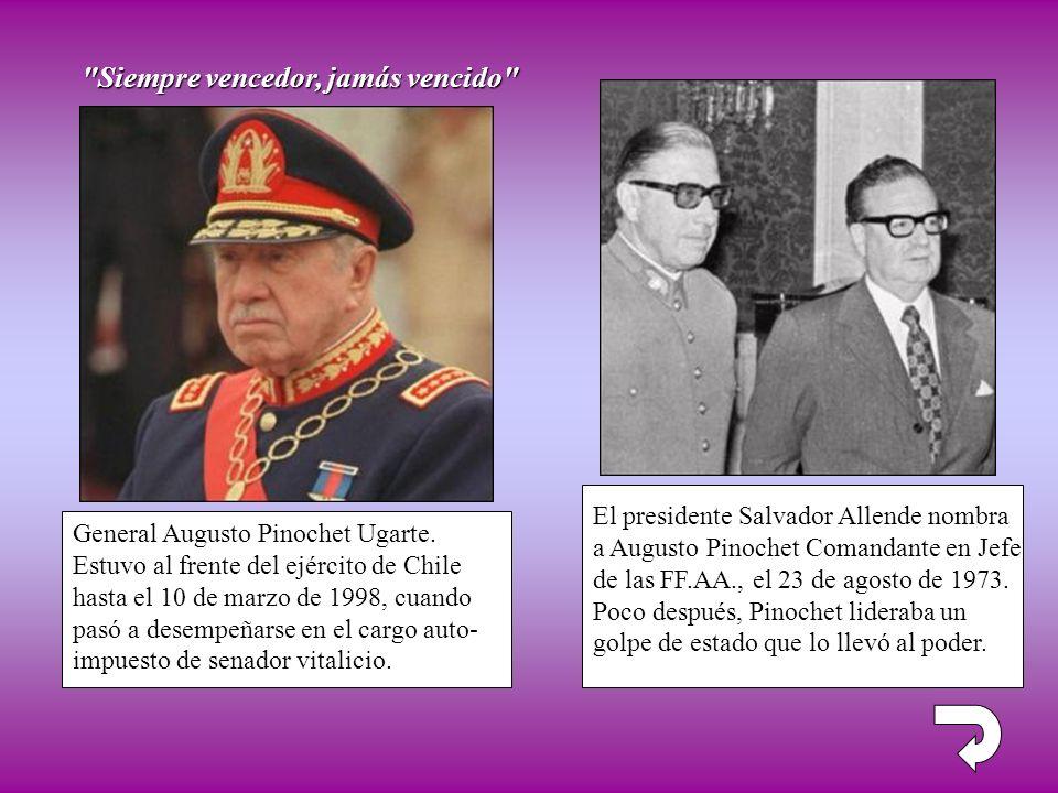 El presidente Salvador Allende nombra a Augusto Pinochet Comandante en Jefe de las FF.AA., el 23 de agosto de 1973. Poco después, Pinochet lideraba un