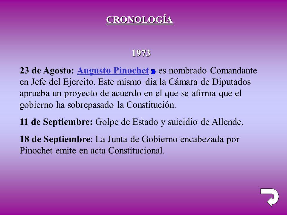 CRONOLOGÍA 1973 23 de Agosto: Augusto Pinochet es nombrado Comandante en Jefe del Ejercito. Este mismo día la Cámara de Diputados aprueba un proyecto
