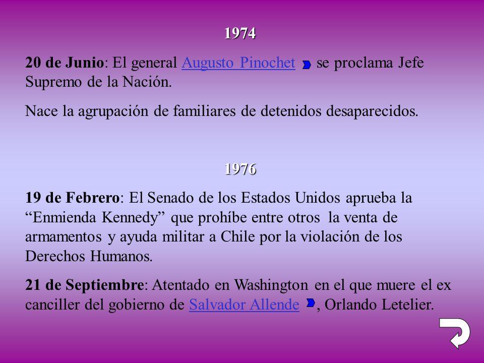 1974 20 de Junio: El general Augusto Pinochet se proclama Jefe Supremo de la Nación. Nace la agrupación de familiares de detenidos desaparecidos.1976