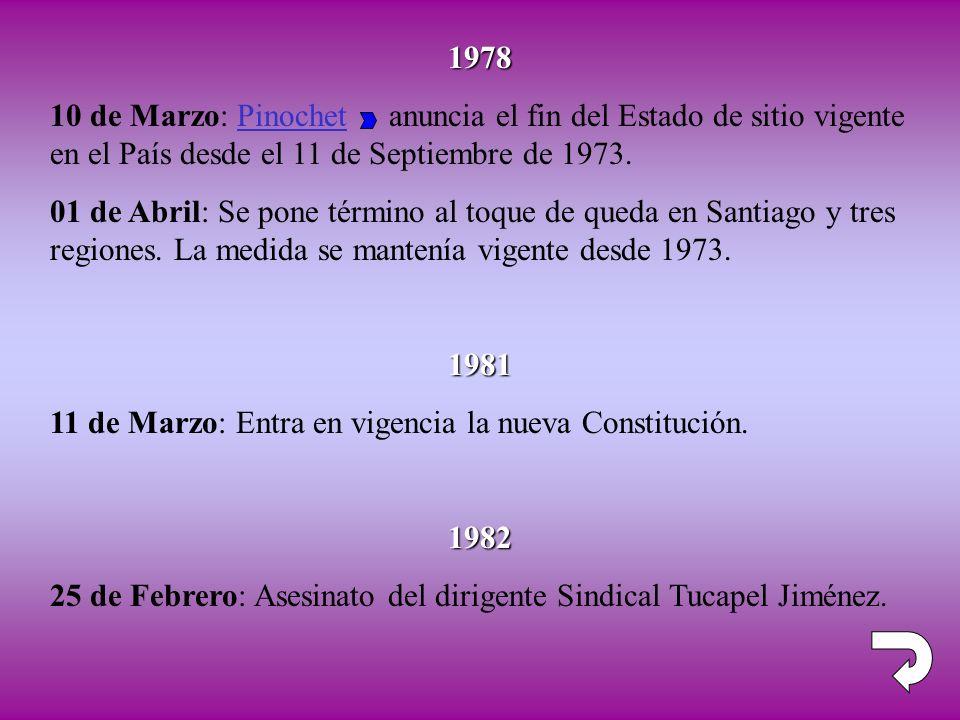 1978 10 de Marzo: Pinochet anuncia el fin del Estado de sitio vigente en el País desde el 11 de Septiembre de 1973. 01 de Abril: Se pone término al to