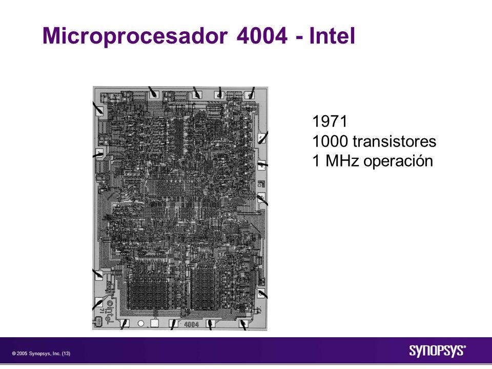 © 2005 Synopsys, Inc. (13) Microprocesador 4004 - Intel 1971 1000 transistores 1 MHz operación