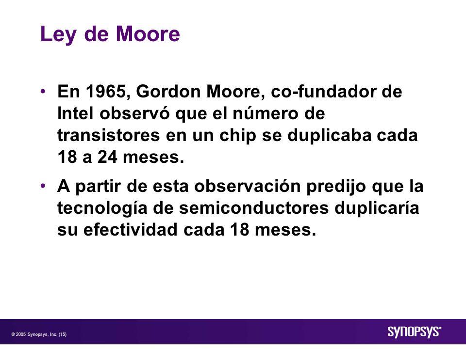 © 2005 Synopsys, Inc. (15) Ley de Moore En 1965, Gordon Moore, co-fundador de Intel observó que el número de transistores en un chip se duplicaba cada