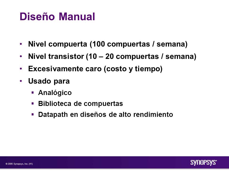 © 2005 Synopsys, Inc. (41) Diseño Manual Nivel compuerta (100 compuertas / semana) Nivel transistor (10 – 20 compuertas / semana) Excesivamente caro (