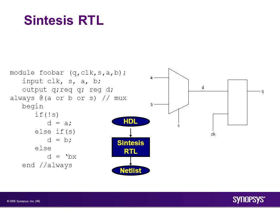 © 2005 Synopsys, Inc. (46) Sintesis RTL module foobar (q,clk,s,a,b); input clk, s, a, b; output q;req q; reg d; always @(a or b or s) // mux begin if(