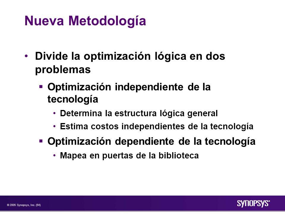 © 2005 Synopsys, Inc. (54) Nueva Metodología Divide la optimización lógica en dos problemas Optimización independiente de la tecnología Determina la e
