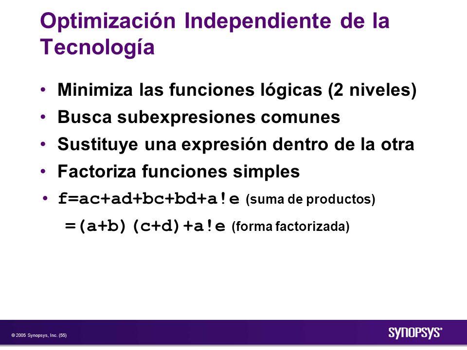 © 2005 Synopsys, Inc. (55) Optimización Independiente de la Tecnología Minimiza las funciones lógicas (2 niveles) Busca subexpresiones comunes Sustitu