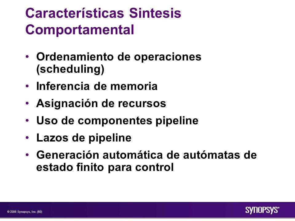 © 2005 Synopsys, Inc. (60) Características Sintesis Comportamental Ordenamiento de operaciones (scheduling) Inferencia de memoria Asignación de recurs