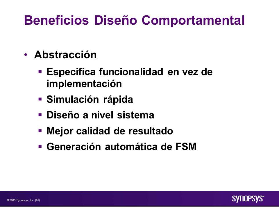 © 2005 Synopsys, Inc. (61) Beneficios Diseño Comportamental Abstracción Especifica funcionalidad en vez de implementación Simulación rápida Diseño a n