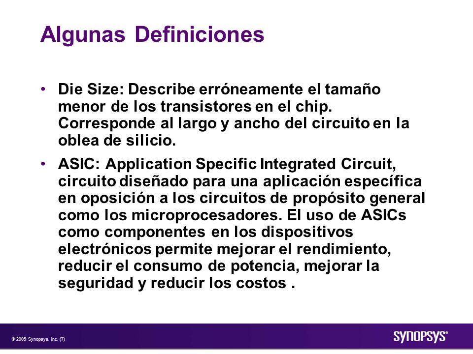 © 2005 Synopsys, Inc. (7) Algunas Definiciones Die Size: Describe erróneamente el tamaño menor de los transistores en el chip. Corresponde al largo y