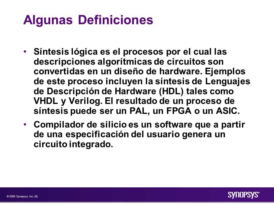 © 2005 Synopsys, Inc. (8) Algunas Definiciones Síntesis lógica es el procesos por el cual las descripciones algorítmicas de circuitos son convertidas