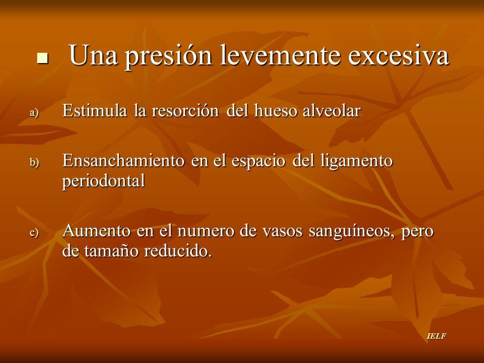 Una presión levemente excesiva a) E stimula la resorción del hueso alveolar b) E nsanchamiento en el espacio del ligamento periodontal c) A umento en