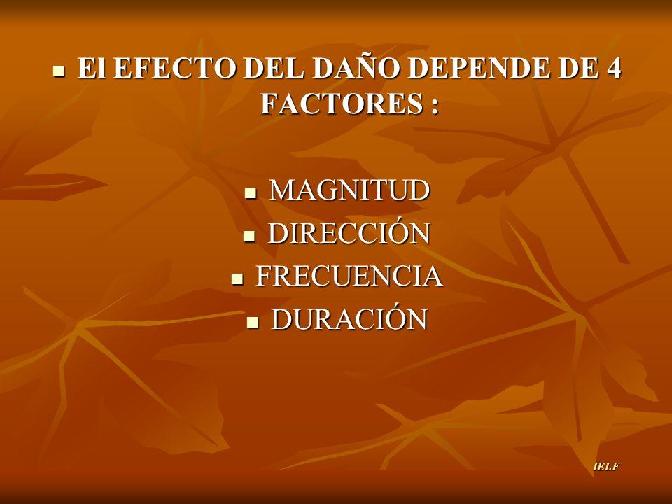El EFECTO DEL DAÑO DEPENDE DE 4 FACTORES : El EFECTO DEL DAÑO DEPENDE DE 4 FACTORES : MAGNITUD MAGNITUD DIRECCIÓN DIRECCIÓN FRECUENCIA FRECUENCIA DURA