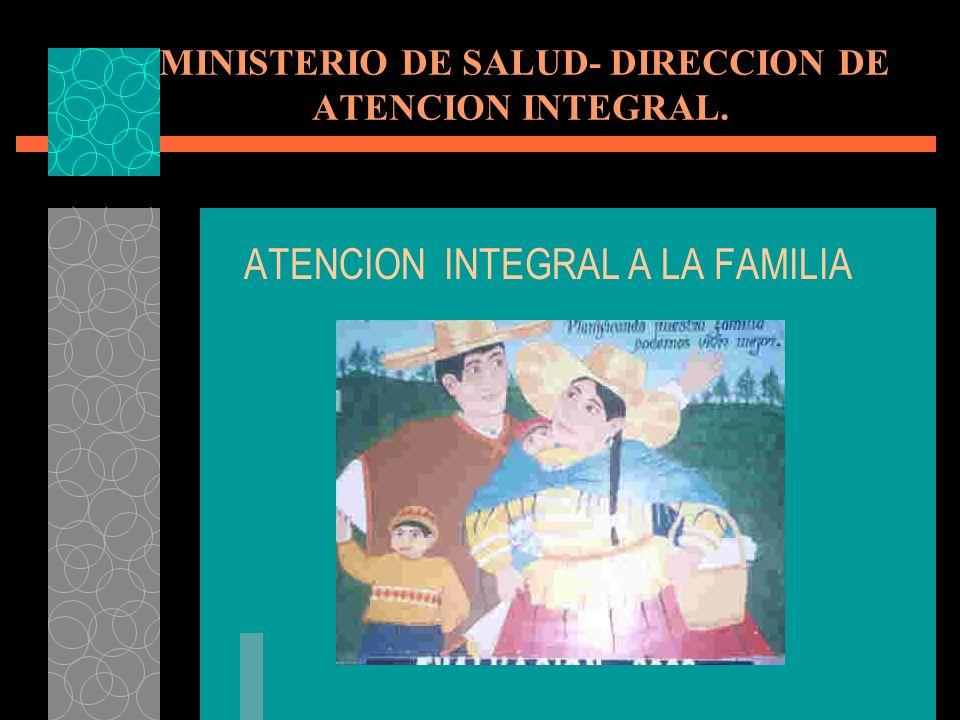 MINISTERIO DE SALUD- DIRECCION DE ATENCION INTEGRAL. ATENCION INTEGRAL A LA FAMILIA