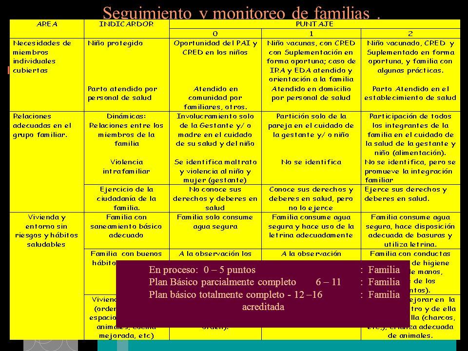 Seguimiento y monitoreo de familias.