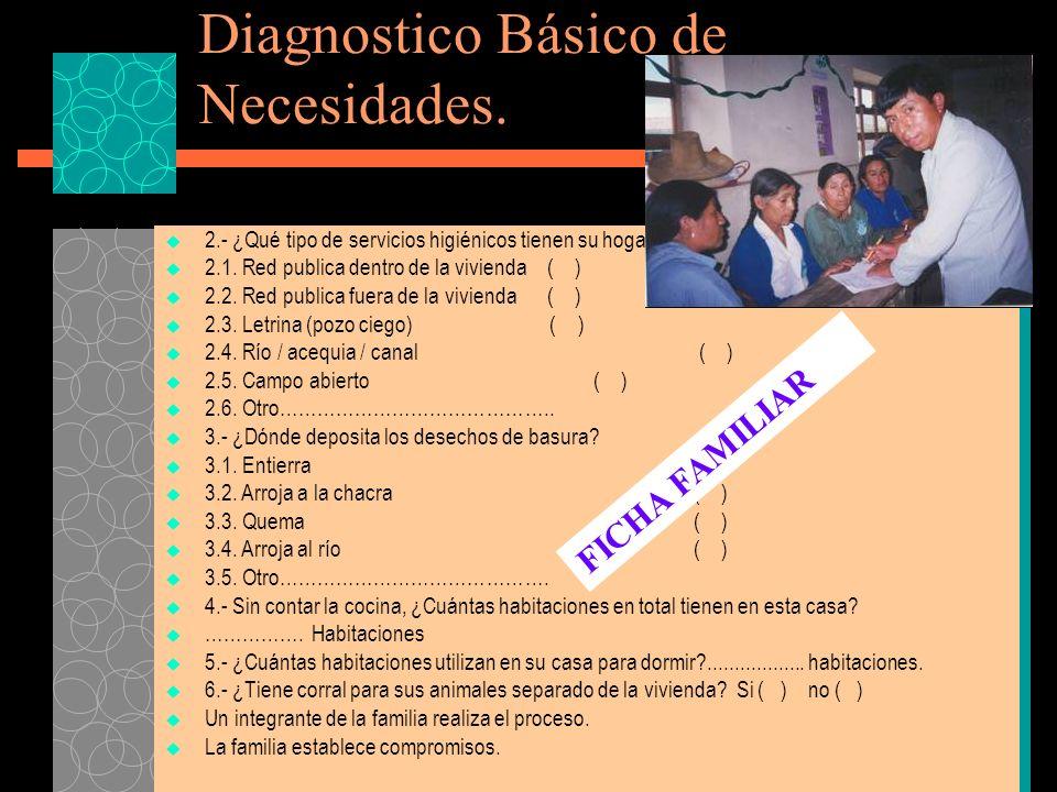 Diagnostico Básico de Necesidades.2.- ¿Qué tipo de servicios higiénicos tienen su hogar.