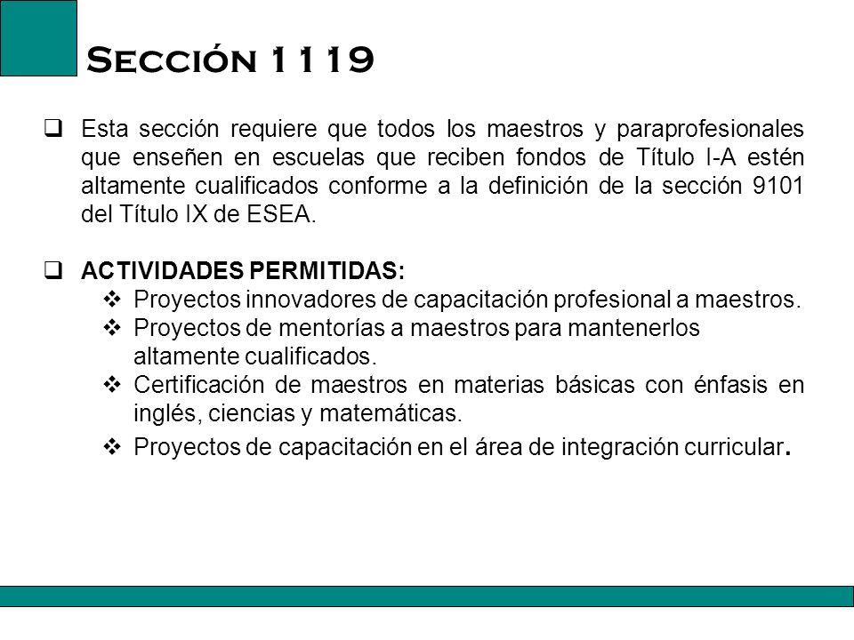 Título I, Parte A, Sección 1119 22