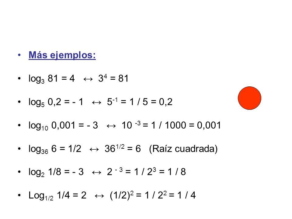 Más ejemplos: log 3 81 = 4 3 4 = 81 log 5 0,2 = - 1 5 -1 = 1 / 5 = 0,2 log 10 0,001 = - 3 10 -3 = 1 / 1000 = 0,001 log 36 6 = 1/2 36 1/2 = 6 (Raíz cua