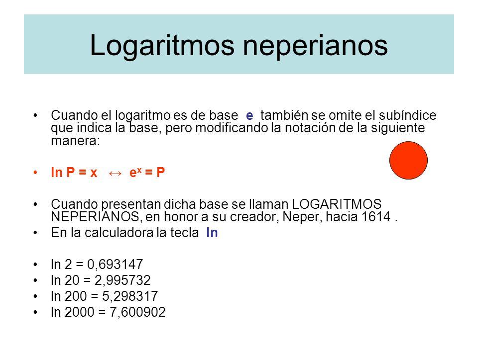 Logaritmos neperianos Cuando el logaritmo es de base e también se omite el subíndice que indica la base, pero modificando la notación de la siguiente