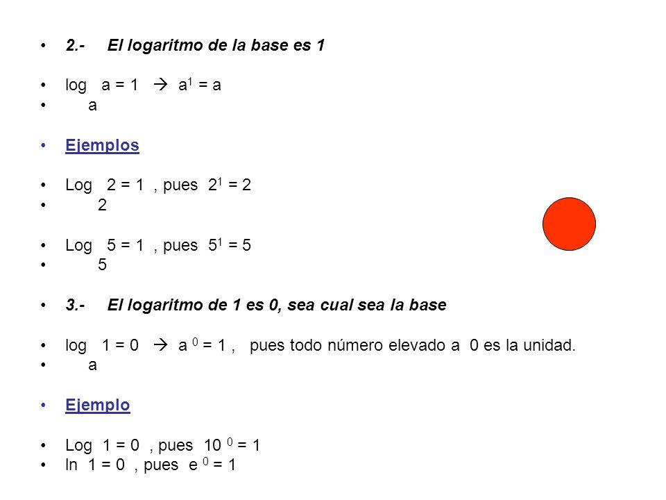 2.-El logaritmo de la base es 1 log a = 1 a 1 = a a Ejemplos Log 2 = 1, pues 2 1 = 2 2 Log 5 = 1, pues 5 1 = 5 5 3.-El logaritmo de 1 es 0, sea cual s