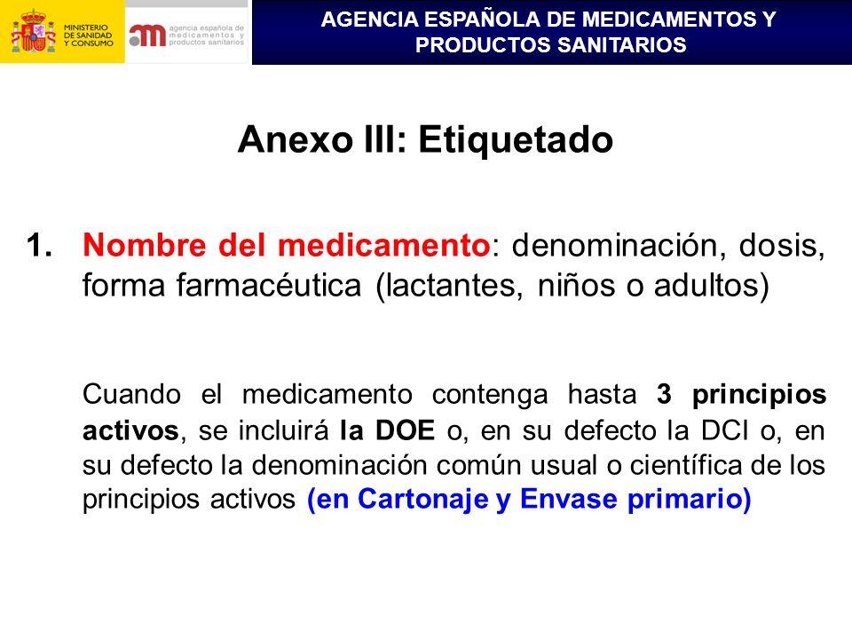 AGENCIA ESPAÑOLA DE MEDICAMENTOS Y PRODUCTOS SANITARIOS Anexo III: Etiquetado 1.Nombre del medicamento: denominación, dosis, forma farmacéutica (lacta