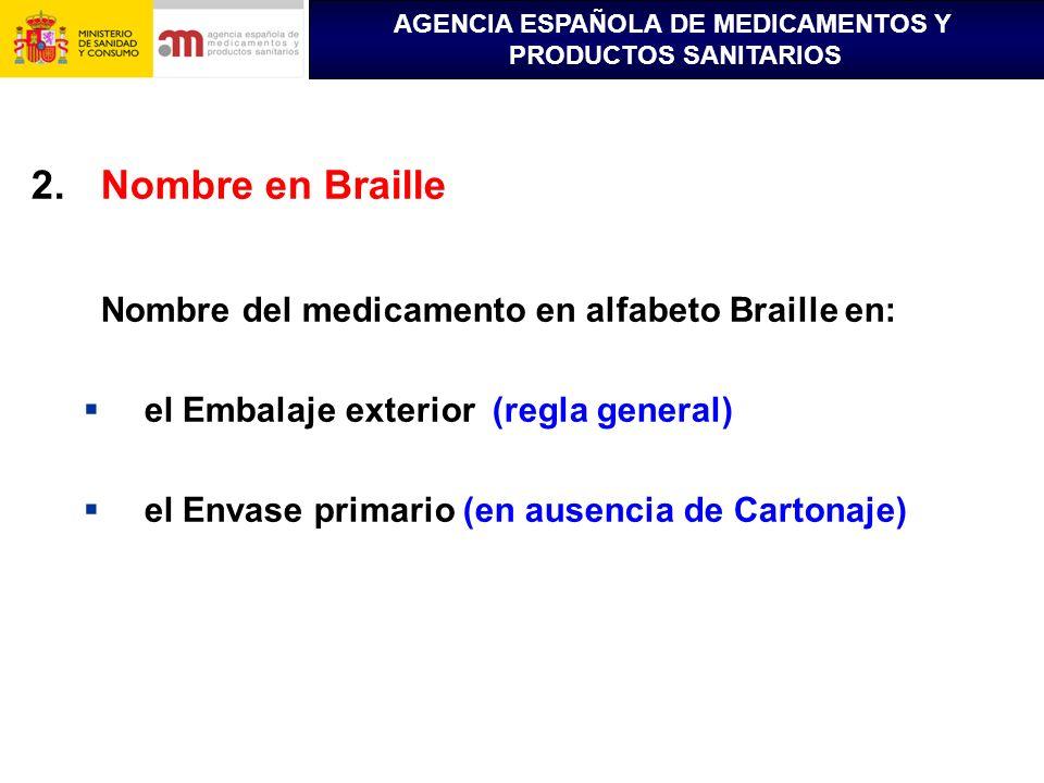 AGENCIA ESPAÑOLA DE MEDICAMENTOS Y PRODUCTOS SANITARIOS 2.Nombre en Braille Nombre del medicamento en alfabeto Braille en: el Embalaje exterior (regla