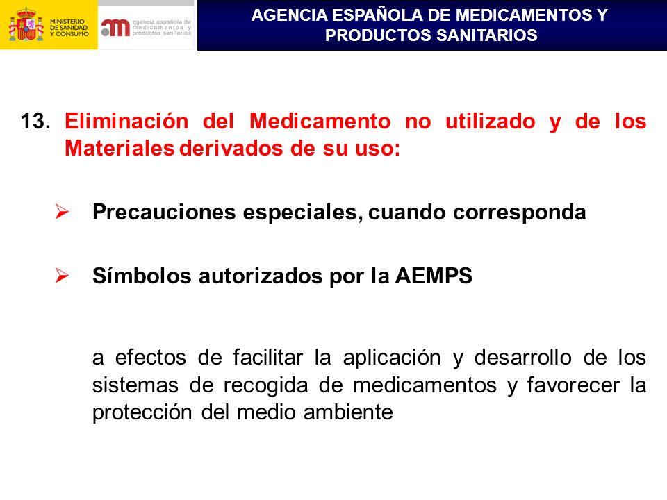 AGENCIA ESPAÑOLA DE MEDICAMENTOS Y PRODUCTOS SANITARIOS 13.Eliminación del Medicamento no utilizado y de los Materiales derivados de su uso: Precaucio