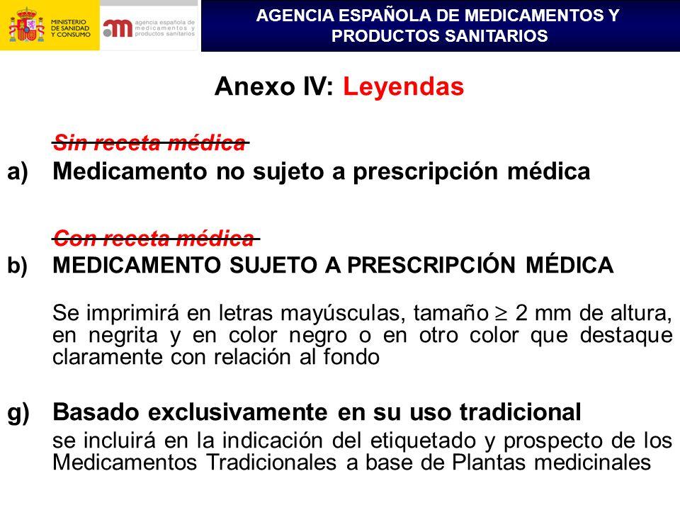 AGENCIA ESPAÑOLA DE MEDICAMENTOS Y PRODUCTOS SANITARIOS Anexo IV: Leyendas Sin receta médica a)Medicamento no sujeto a prescripción médica Con receta