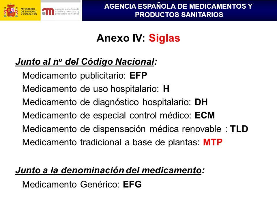 AGENCIA ESPAÑOLA DE MEDICAMENTOS Y PRODUCTOS SANITARIOS Anexo IV: Siglas Junto al n o del Código Nacional: Medicamento publicitario: EFP Medicamento d