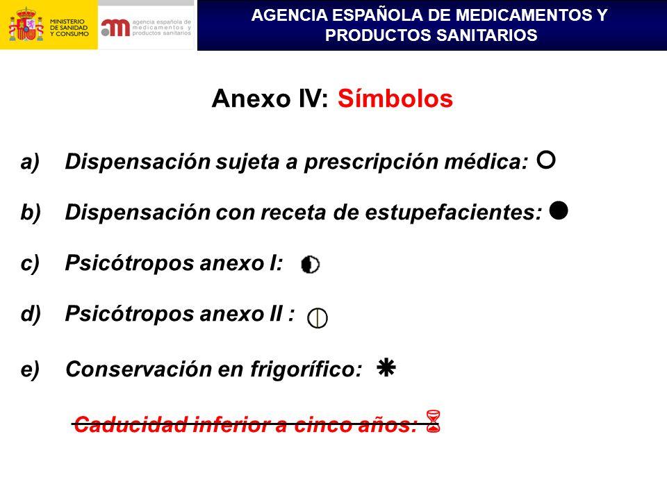 AGENCIA ESPAÑOLA DE MEDICAMENTOS Y PRODUCTOS SANITARIOS Anexo IV: Símbolos a)Dispensación sujeta a prescripción médica: b)Dispensación con receta de e