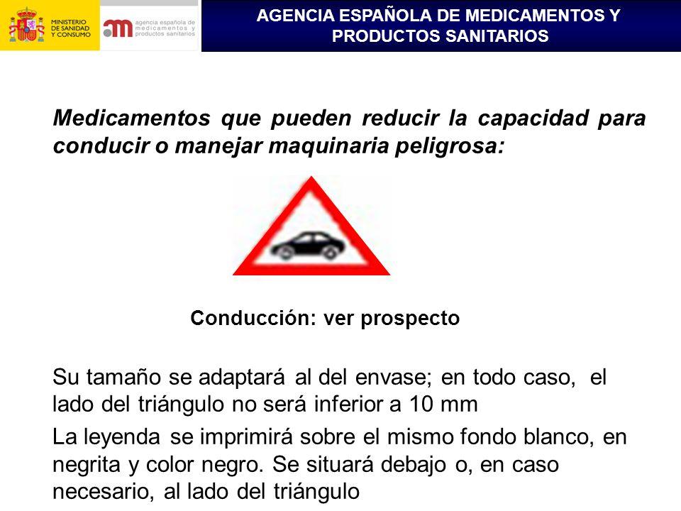 AGENCIA ESPAÑOLA DE MEDICAMENTOS Y PRODUCTOS SANITARIOS Medicamentos que pueden reducir la capacidad para conducir o manejar maquinaria peligrosa: Con