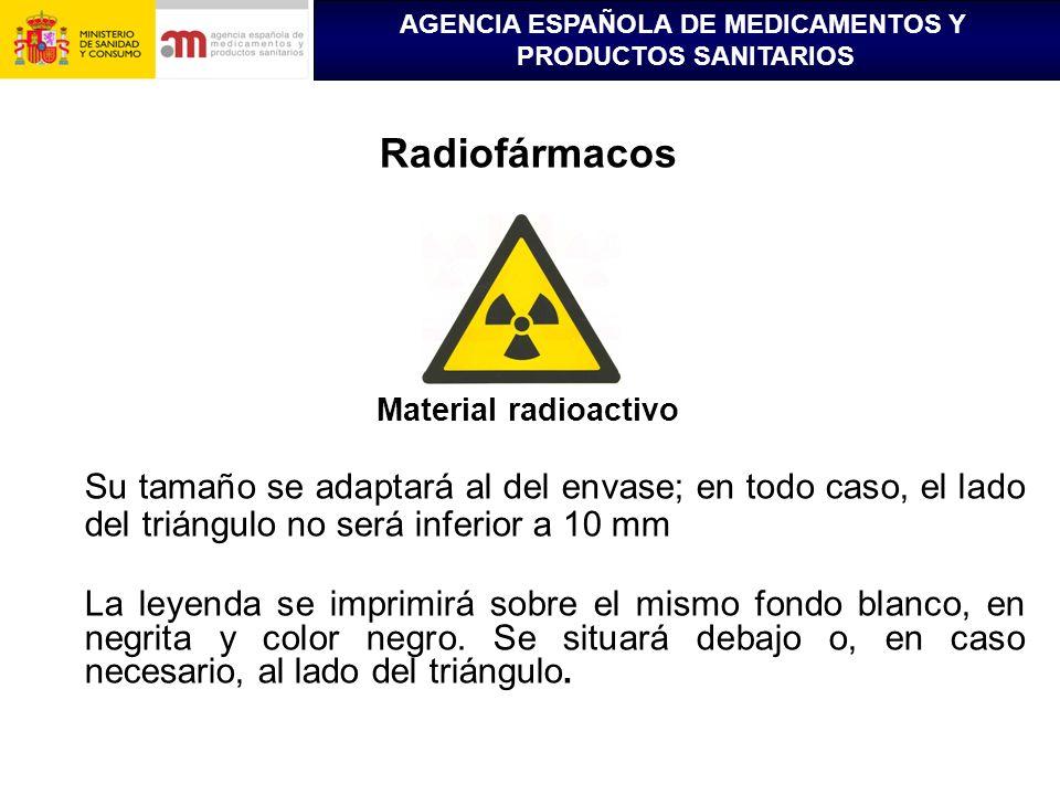 AGENCIA ESPAÑOLA DE MEDICAMENTOS Y PRODUCTOS SANITARIOS Radiofármacos Material radioactivo Su tamaño se adaptará al del envase; en todo caso, el lado