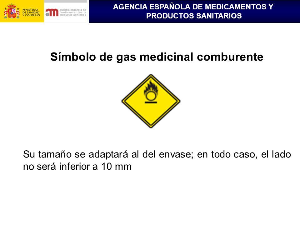 AGENCIA ESPAÑOLA DE MEDICAMENTOS Y PRODUCTOS SANITARIOS Símbolo de gas medicinal comburente Su tamaño se adaptará al del envase; en todo caso, el lado