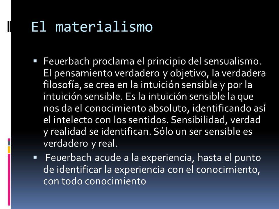 El materialismo Feuerbach proclama el principio del sensualismo. El pensamiento verdadero y objetivo, la verdadera filosofía, se crea en la intuición
