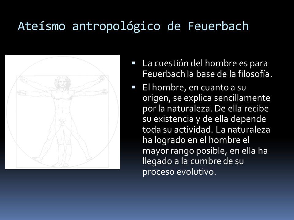 Ateísmo antropológico de Feuerbach La cuestión del hombre es para Feuerbach la base de la filosofía. El hombre, en cuanto a su origen, se explica senc