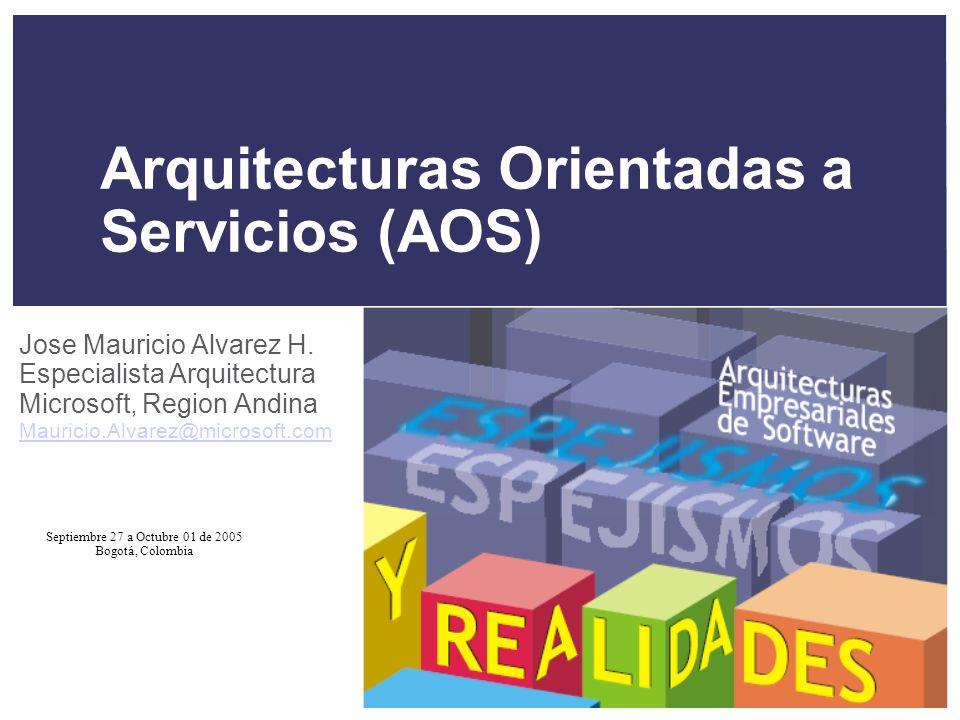 Septiembre 27 a Octubre 01 de 2005 Bogotá, Colombia Arquitecturas Orientadas a Servicios (AOS) Jose Mauricio Alvarez H.