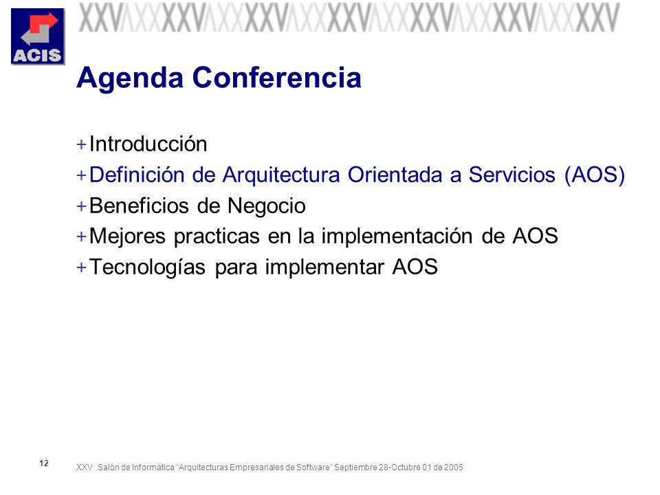 XXV Salón de Informática Arquitecturas Empresariales de Software Septiembre 28-Octubre 01 de 2005 12 Agenda Conferencia + Introducción + Definición de Arquitectura Orientada a Servicios (AOS) + Beneficios de Negocio + Mejores practicas en la implementación de AOS + Tecnologías para implementar AOS