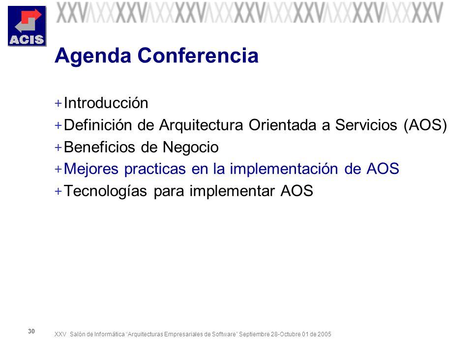 XXV Salón de Informática Arquitecturas Empresariales de Software Septiembre 28-Octubre 01 de 2005 30 Agenda Conferencia + Introducción + Definición de Arquitectura Orientada a Servicios (AOS) + Beneficios de Negocio + Mejores practicas en la implementación de AOS + Tecnologías para implementar AOS