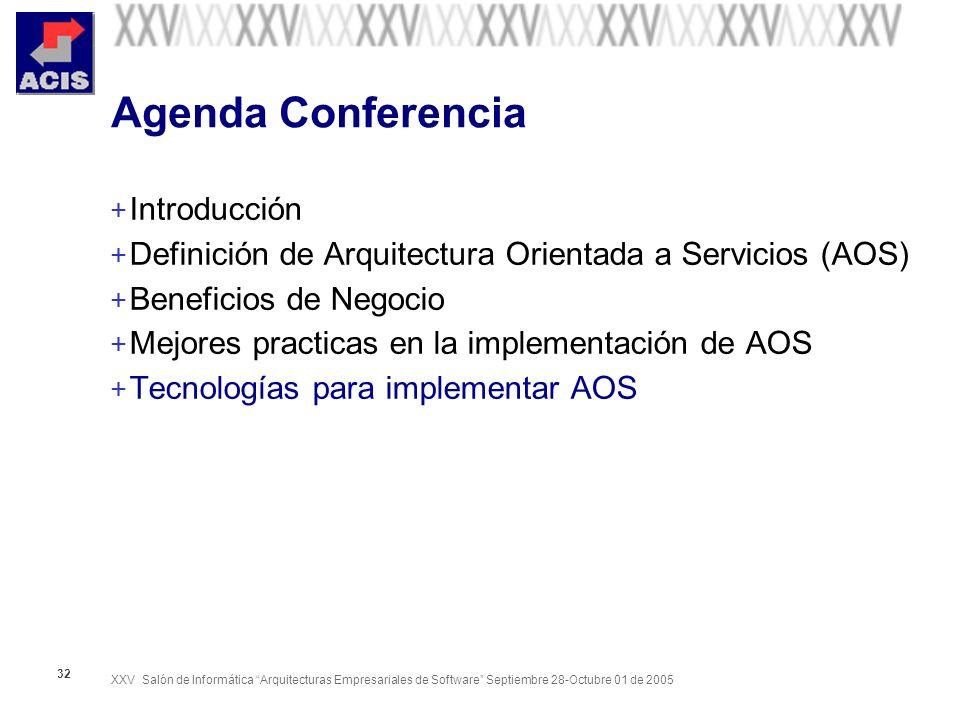 XXV Salón de Informática Arquitecturas Empresariales de Software Septiembre 28-Octubre 01 de 2005 32 Agenda Conferencia + Introducción + Definición de Arquitectura Orientada a Servicios (AOS) + Beneficios de Negocio + Mejores practicas en la implementación de AOS + Tecnologías para implementar AOS