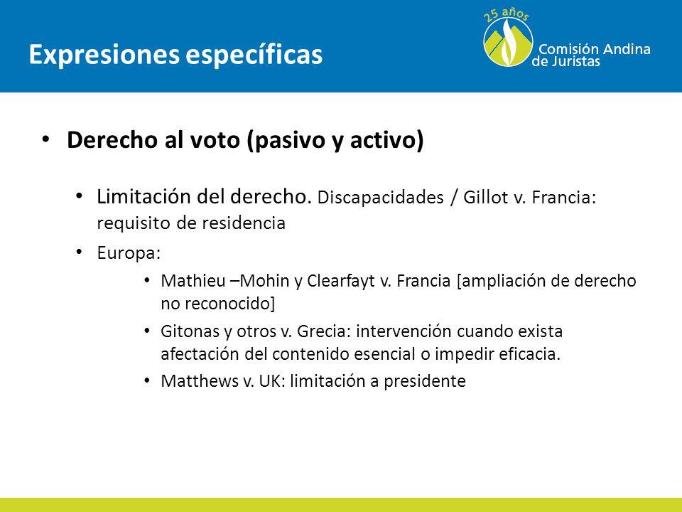 Expresiones específicas Derecho al voto (pasivo y activo) Limitación del derecho.