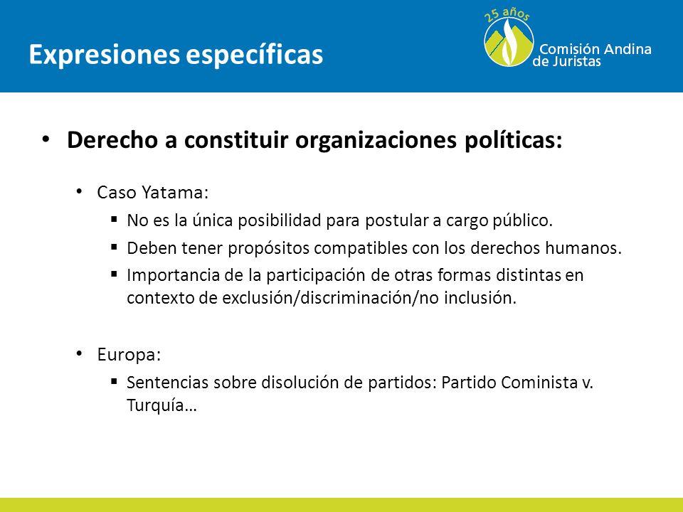 Expresiones específicas Derecho a constituir organizaciones políticas: Caso Yatama: No es la única posibilidad para postular a cargo público.