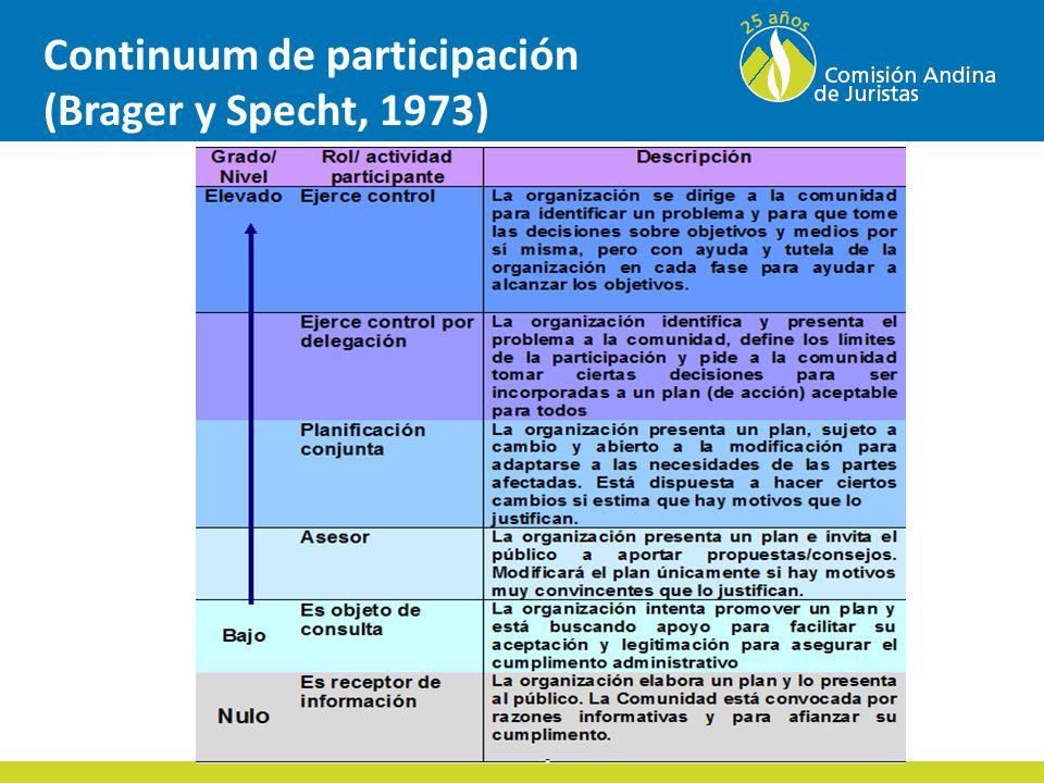 Continuum de participación (Brager y Specht, 1973)