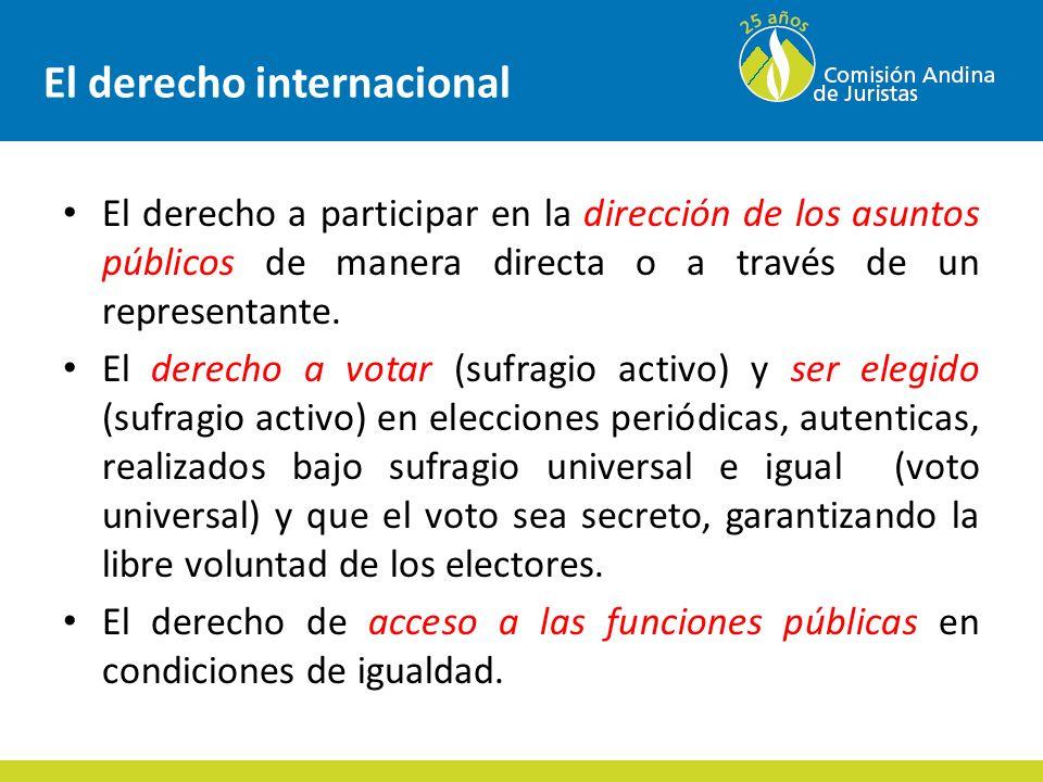 El derecho internacional El derecho a participar en la dirección de los asuntos públicos de manera directa o a través de un representante.